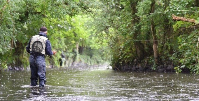 fly fishing on stream